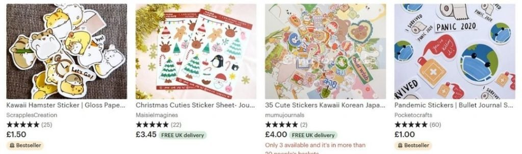 best things to sell on Etsy, stickers