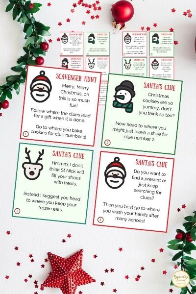 Christmas scavenger hunt rhyming riddle printable clues to print on Christmas background