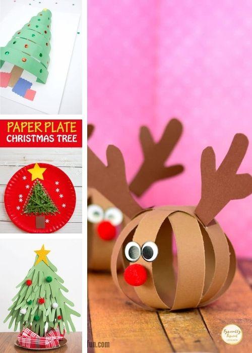 santa and reindeer childrens crafts collage