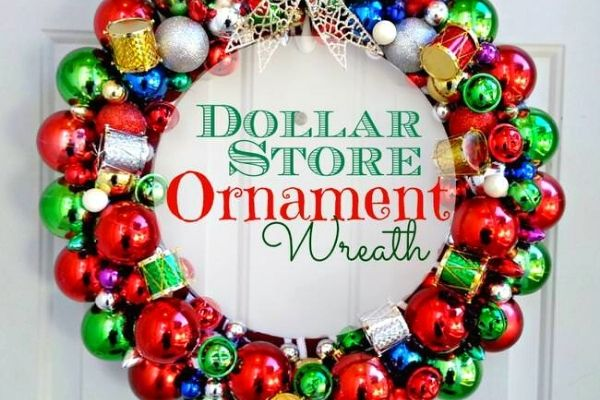 DIY dollar store ornament wreath