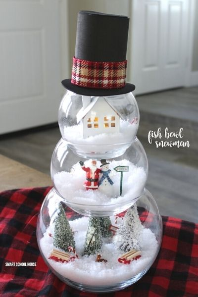 fishbowl snowman christmas dollar store decor ideas