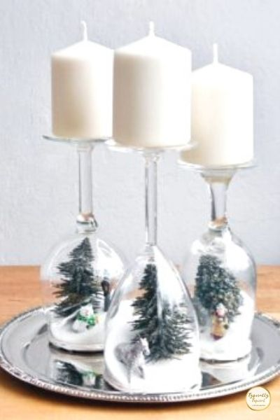 wine glass snowglobes Christmas dollar store decor ideas