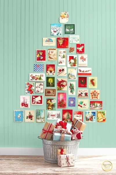 DIY holiday card tree dollar store decoration
