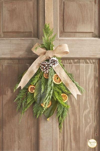 DIY dried citrus wreath Christmas dollar store decorations