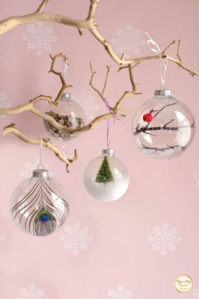 fillable glass baubles for Christmas tree