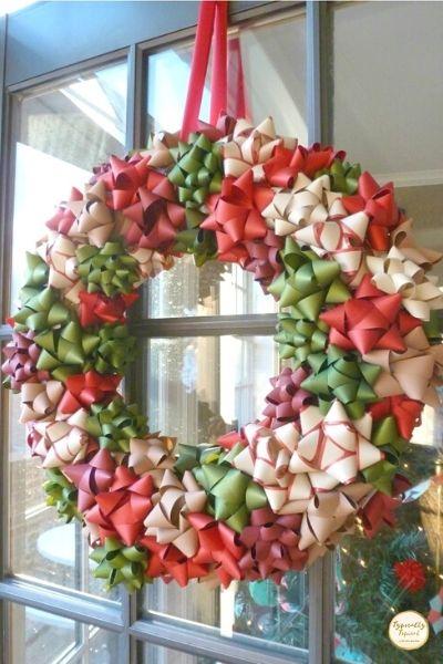 DIY ribbon bow Christmas dollar store decor