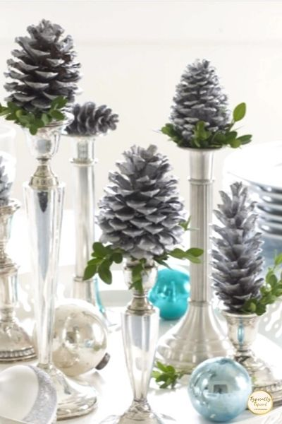 Christmas candlestick pinecones