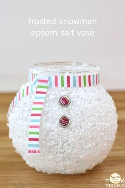 Forsted snowman Epsom salt vase for Christmas