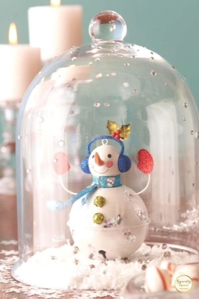 Snowman globe cloche for Christmas table