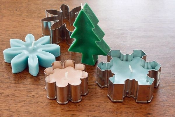 Cookie cutter candles for Christmas