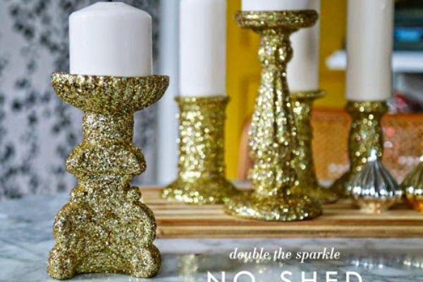 gold glitter no shed christmas candles