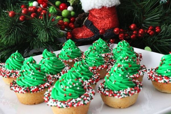 christmas tree cookie cups
