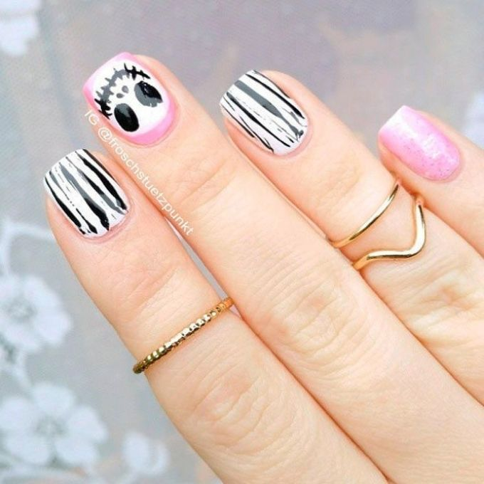 Jack Skellington cute Halloween nails