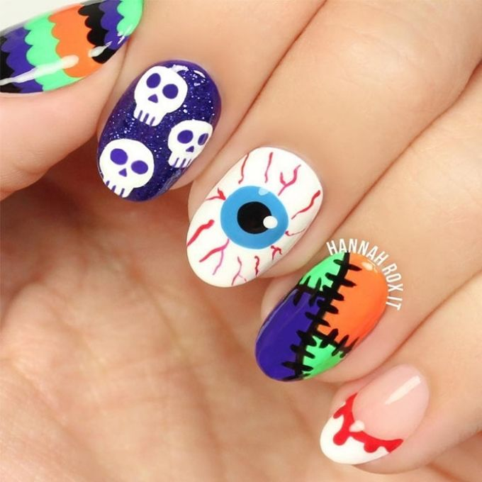colorful bright easy Halloween nails