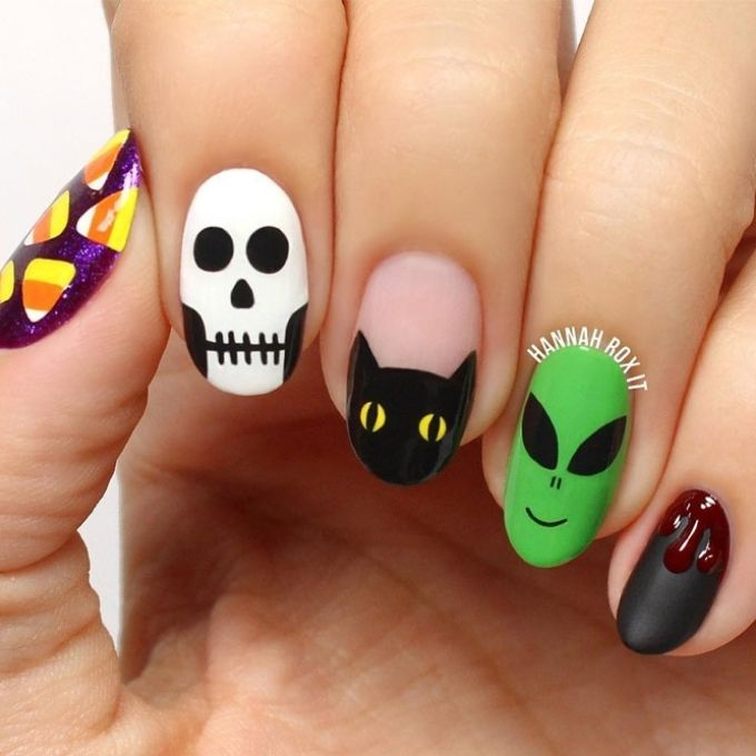 oval shaped nails skeletons and cats