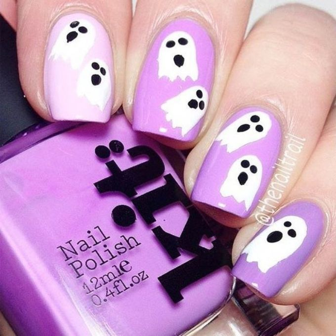 cute ghosts purple easy Halloween nails idea