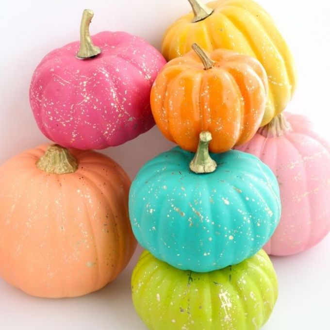 easy painted pumpkin ideas glitter gold pastel