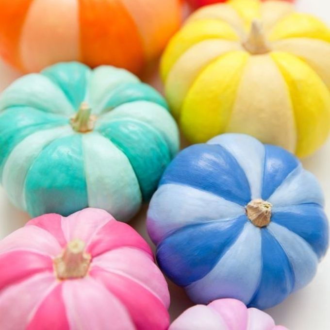 easy painted pumpkin ideas no carve colors