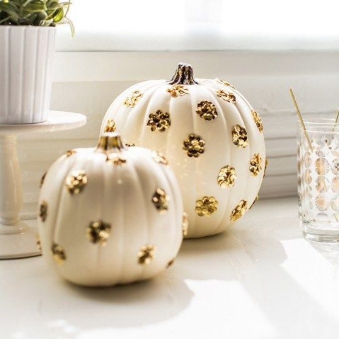gold sequin cluster pumpkin decor
