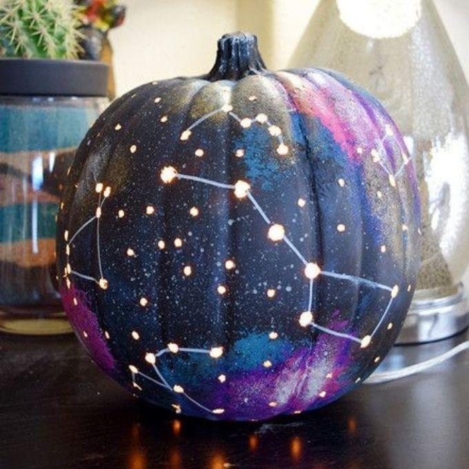 constellation night sky unique pumpkin painting ideas