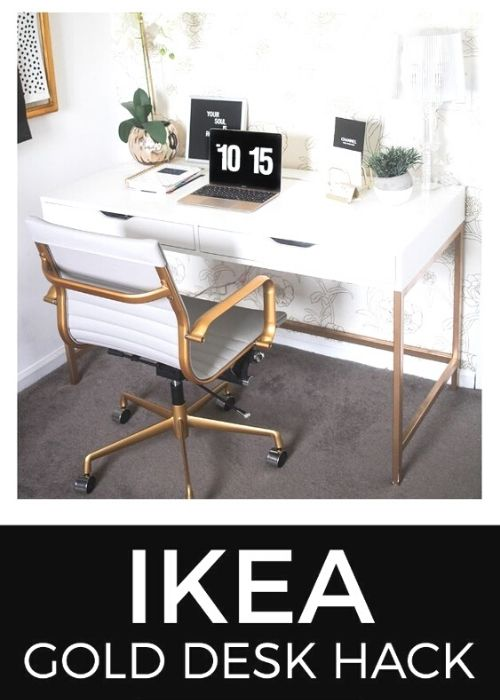 gold ikea desk hack for small bedroom