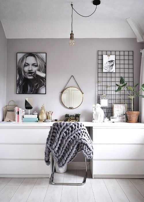 white workspace for small bedroom ikea hack