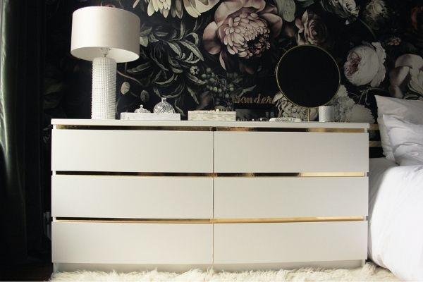DIY vintage style dresser ikea storage hack for bedroom