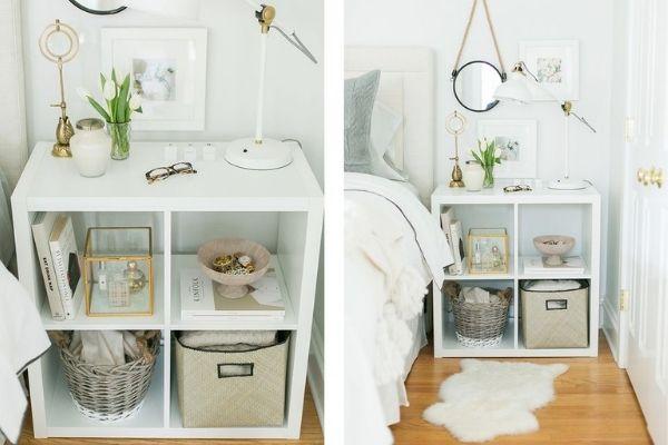 IKEA Kallax Shelf Bedside Table Storage Hack