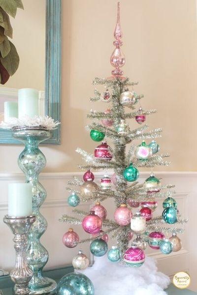 pink and blue mini christmas tree