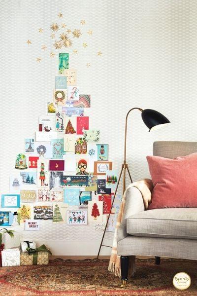 DIY christmas greeting card wall tree