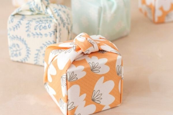 old fabric eco friendly gift wrapping