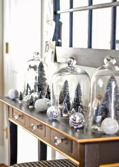 monochrome silver christmas side table decoration