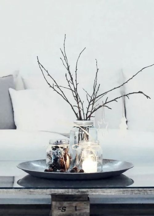 rustic coffee table christmas decoration with branches