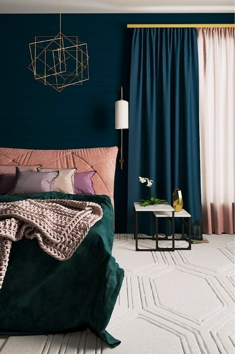 modern geometric art deco bedroom