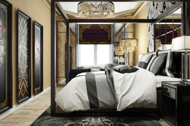 Gatsby art deco bedroom, large space
