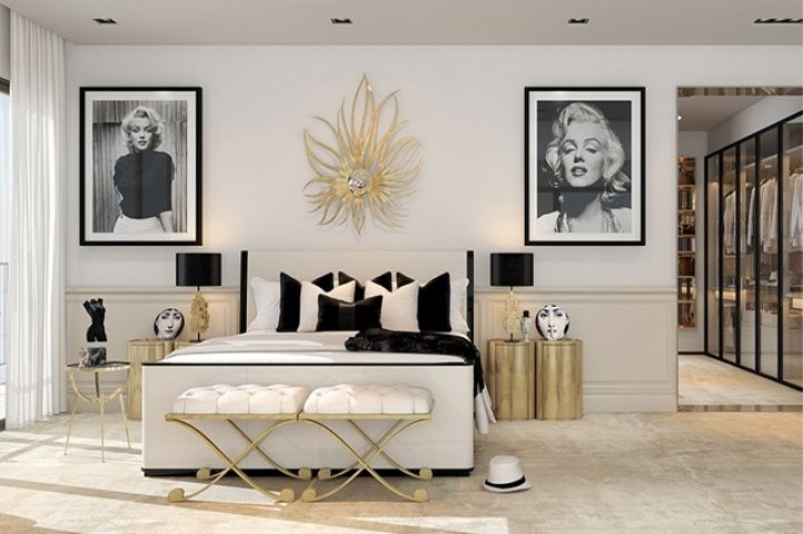 hollywood glamour art deco bedroom with gold and black accessories