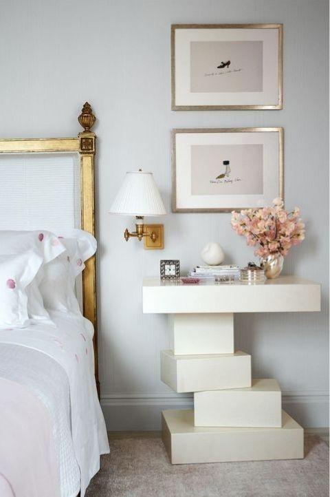 white art deco styled nightstand