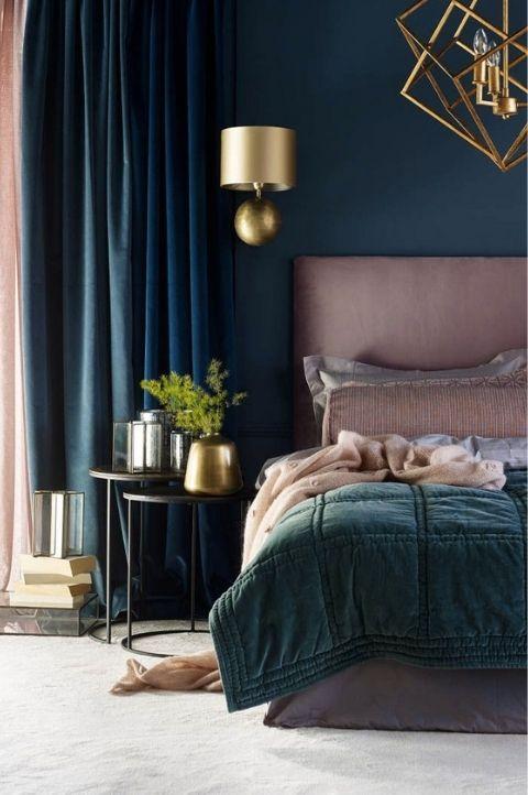 art deco bedroom interior, dark pink and navy