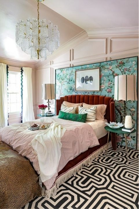 maximalist art deco bedroom with lots of accessories