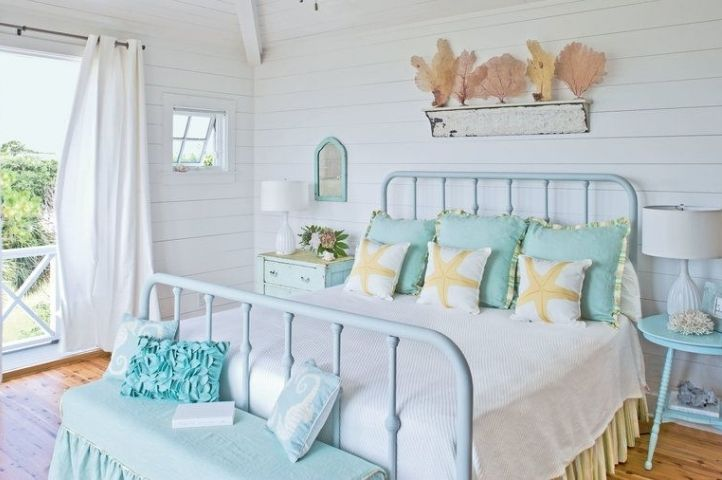 hamptons style seaside bedroom with autumnal twist