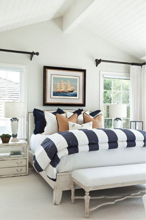 coastal bedroom with navvy stripes