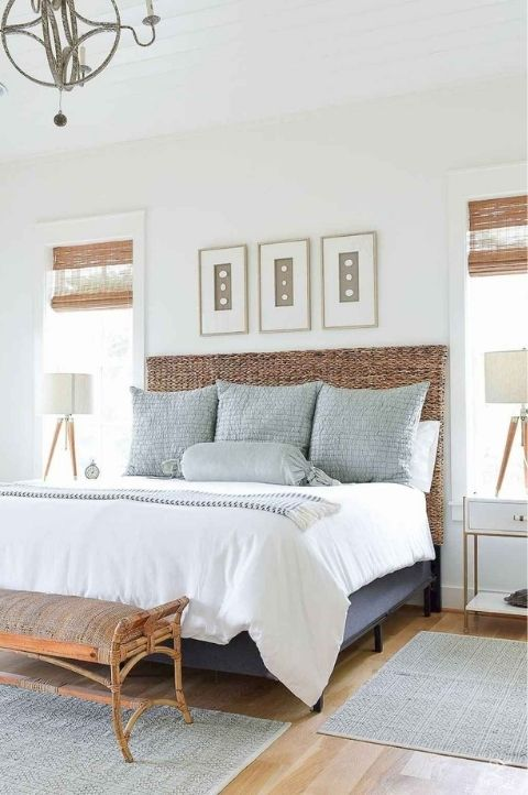 coastal bedroom light blue and white fabrics