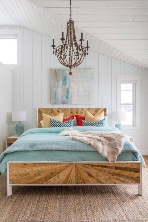 art deco style coastal bedroom