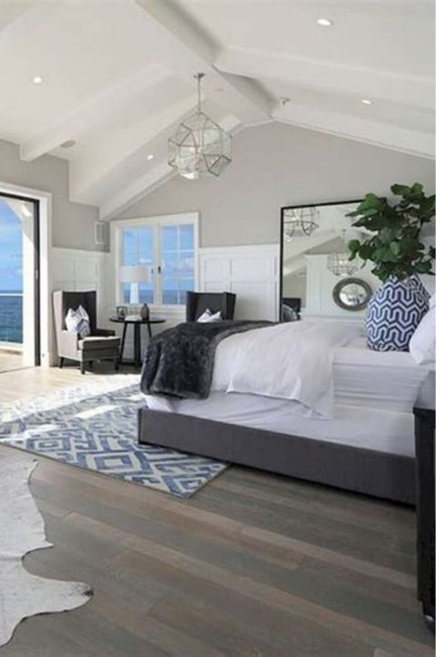 elegant upscale seaside costal themed master bedroom