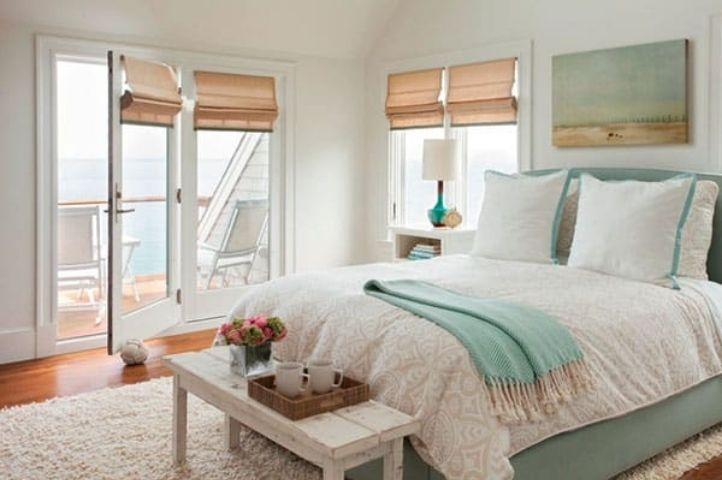 classic coastal bedroom with statement pieces