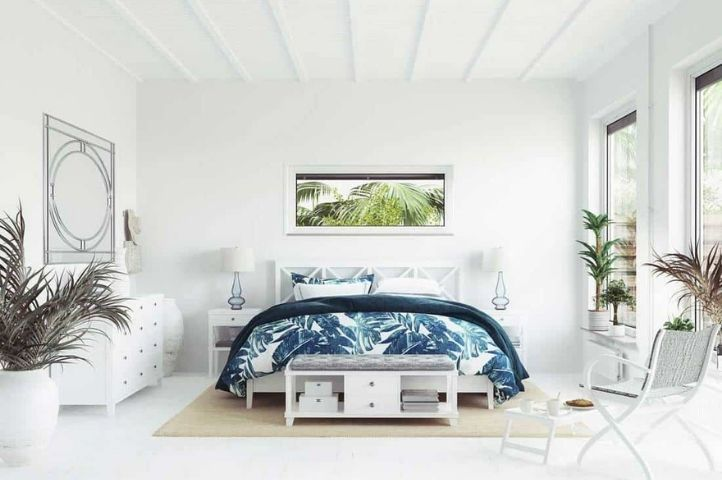 Classic, minimalistic coastal bedroom with a white wood finish