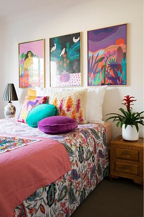 colorful maximalist bedroom spiritual vibes, minimalist style, tidy and clean look