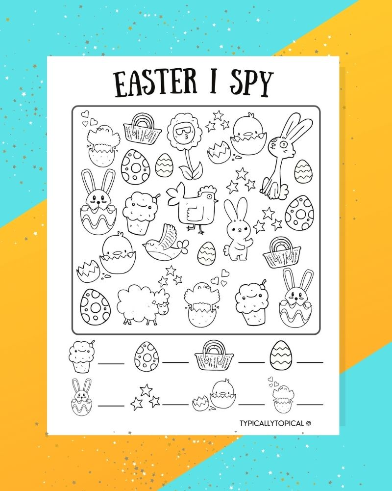 free easter printable i spy game, black and white with easter bunnies, easter eggs on a blue and yellow background