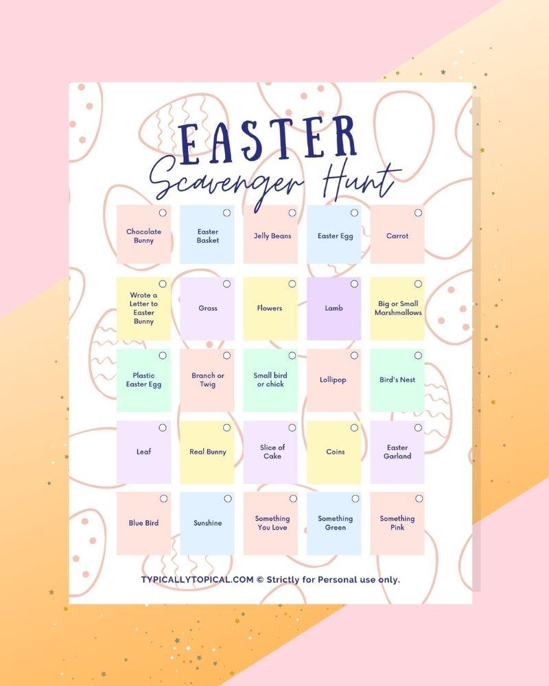 easter egg hunt checklist printable free download pdf on easter themed background