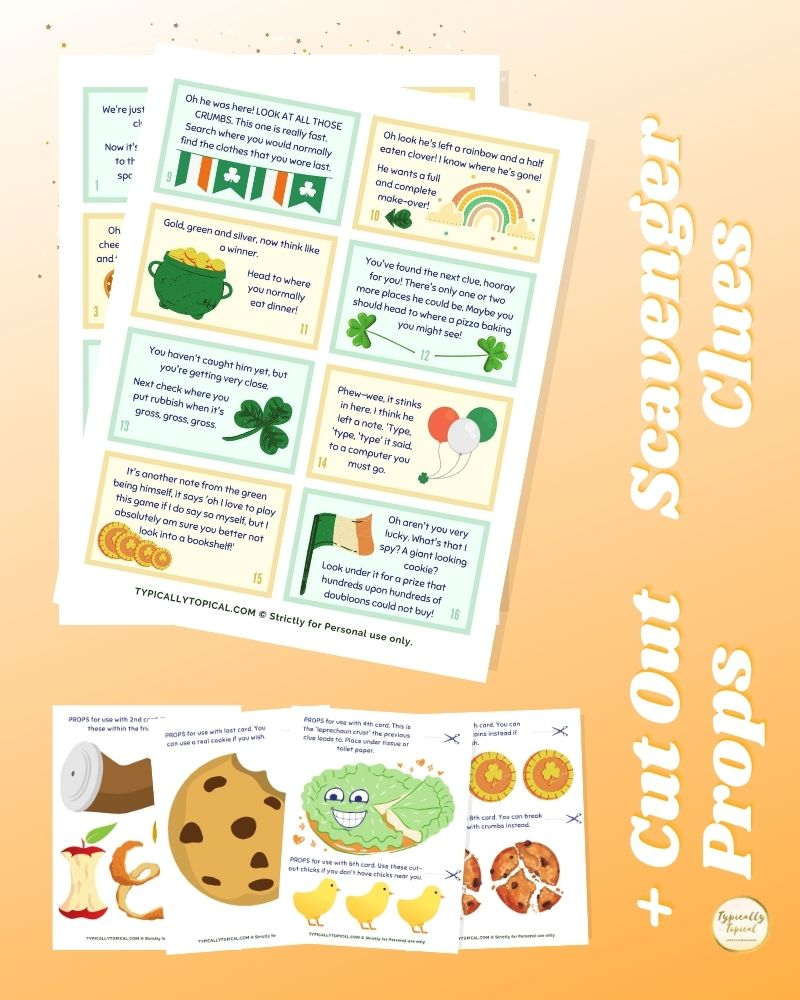 printable st patrick's day scavenger hunt for kids with printable interactive props
